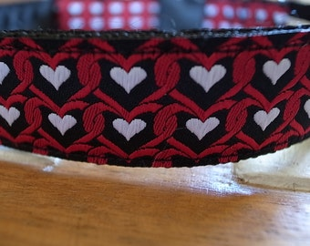 Red & Black Hearts Dog Collar - JRT/IG/Whippet/Labrador/Vizsla/Poodle/Other Breed - House/Martingale/Side Release Buckle