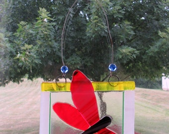 Fused Glass Red and White Framed Butterfly Sun Catcher