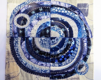 Indigo & Rust ~ original fiber art