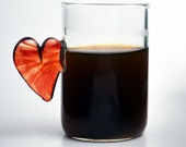 Hand blown espresso coffee glass, red flameworked glass heart handle