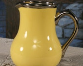 Sudlow's Burslem tall Milk Pitcher Yellow Silver Trim Made in England   Holiday Entertaining Vintage