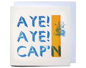 Letterpress Woodblock Greetings Card - Aye Aye
