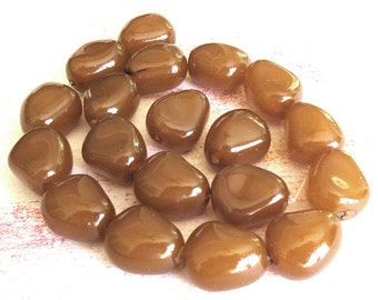 Translucent Glass Nugget Beads - Caramel Color - #19 beads - 12x15mm