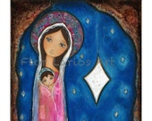 Nativity Star III -  Giclee print mounted on Wood (8 x 8 inches) Folk Art  by FLOR LARIOS