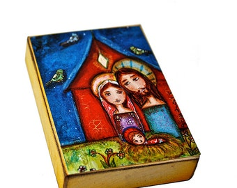 Nativity with Birds - Aceo print mounted on Wood (2.5 x 3.5) Folk Art  by FLOR LARIOS