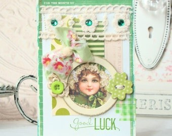 Good Luck  Card- Handmade - Shabby  Chic style greeting card Card, St. Patrick's Day Card, St. Patricks