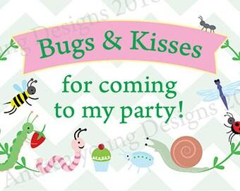 Bug Party printable labesl 8x10 digital file
