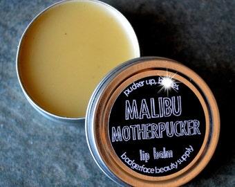 Malibu Rum Lip Balm. .5 oz / 14 g. Rum & Coke Lip Balm. Natural Lip Balm. Funny Lip Balm. Malibu Rum. Beeswax Lip Balm.
