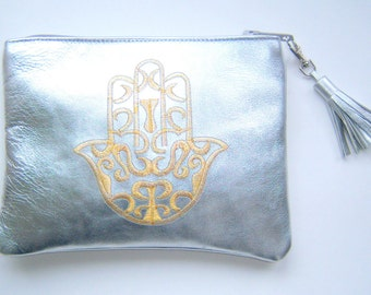 silver leather make up bag - genuine leather bag - genuine leather pouch - silver leather pouch - or diy pouch