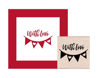 Banner Bunting With Love Rubber Stamp
