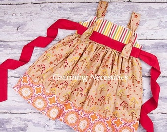 SALE Girls Fall Knot Dress in Apple Harvest by Charming Necessities Toddler Girl Back to School Boutique Clothing Red Orange Brown