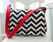Black Chevron Messenger Style Diaper Bag with Red Cotton Fabric and Adjustable Strap Unisex