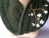 Cowl Infinity Scarf Dark Green Ivory Scarf Cherry Blossom Scarf Embroidered Scarf Womens Warm Winter Scarf - MADE TO ORDER