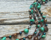 Versatile Beaded Necklace, Long Necklace, Wrap Bracelet, Headwrap Czech Glass, Bead Necklace, Teal, Green, Turquoise, Aqua, READY TO SHIP