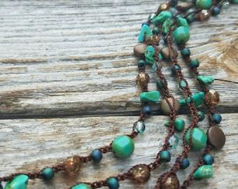 Versatile Beaded Necklace, Long Necklace, Wrap Bracelet, Headwrap Czech Glass, Bead Necklace, Teal, Green, Turquoise, Aqua, READY TO SHIP