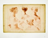 French Print 1910,  Female Face Drawings Lithographs