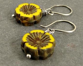 Yellow Flower Earrings, Fine Silver Wire Wrap Dangle Earrings, , Eco Friendly Jewelry Gifts for Her