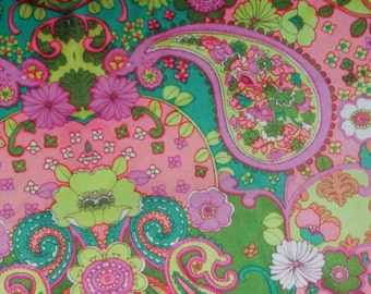 Pink Paisley Flower Nylon Spandex 4way Stretch Swim Leggings Fabric BTY ~ Almost Gone!