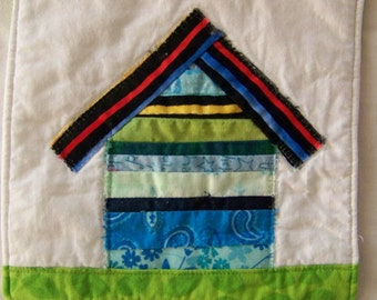 Scrappy Selvage Cat  Cottage #1  Mug Rug, Candle Mat or Mini Quilt
