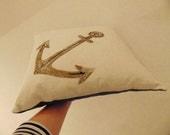 Hand Beaded Embroidery  Anchor Love Token Cushion Pillow