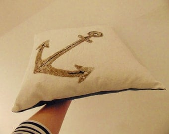 Hand Beaded Embroidery  Anchor Love Token Cushion Pillow