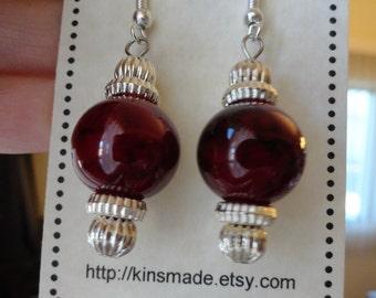 Earrings Blood Red Ornament Dangle Earrings Silvertone Glass