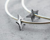 Big Golden Hoops with Star - large hoops - gold filled hoop earrings, oxidized silver charms, star earrings, made in Italy