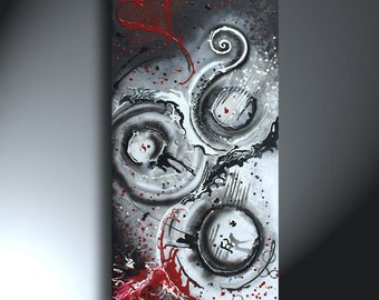 Abstract Black White Red With Holes And A Heart Large Original Artwork 24x48 Holes In A Heart And Through A Soul