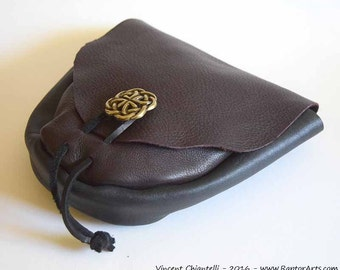 Leather Belt Pouch Renaissance SCA LARP midieval Celtic Purse druid wiccan Black Brown - By Raptor Arts Studio