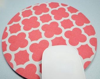 Buy 2 FREE SHIPPING Special!!   Mouse Pad, Round Fabric Mouse Pad or Trivet      Quatrefoil in Coral