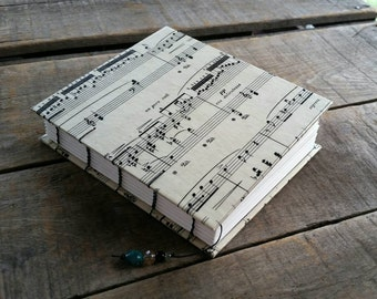 Small Music Journal, Blank Vintage Sheet Music Art Journal, Small Music Guest Book, Small Handmade Music Journal, Coptic Stitch Music Book