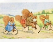 Tempest postcard - The Bicycle Ride  Dressed Squirrels, Pk 442, Margaret Tempest, vintage postcard vintage postcard, SharonFosterVintage