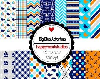 Digital Scrapbook  BigBlueAdventure-INSTANT DOWNLOAD