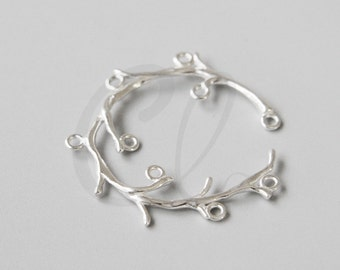One Piece Sterling Silver Branch Connector - Grape Vine 34x31mm (4169)