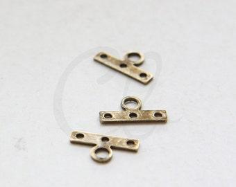 6pcs Antique Brass Multiple Hole Bars - 13.5x7.5mm (3020C-M-424)