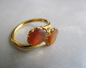 Double Sea Glass Amber Ring - Beach Glass Ring - Eco Friendly Ring - Sea Glass - Beach Glass Jewelry