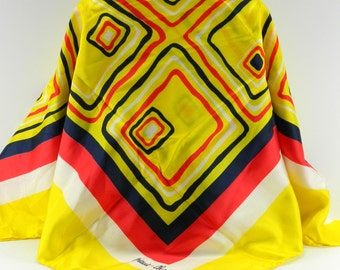 """Bright Yellow Geometric Abstract Vintage Silk Scarf Signed Marie - ? 30 x 30"""" (15495)"""