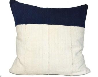 Vintage African Colorblock Indigo Mudcloth Pillow 20x20