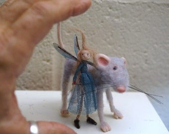 ooak little miniature poseable mouse and fairy ( #7 ) polymer clay art doll by DinkyDarlings elf pixie fairy faery