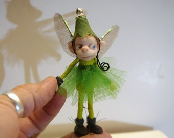 ooak poseable green bug PIXIE fairy ( #1 ) polymer clay art doll by DinkyDarlings elf pixie faery