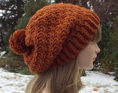 Ginger Brown Slouchy Crochet Hat, Womens Slouch Beanie, Oversized Slouchy Beanie, Chunky Hat with Pom Pom, Slouchy Hat Winter Hat Slouch Hat