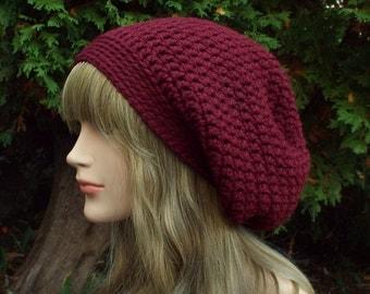 Burgundy Wine Slouchy Beanie, Womens Crochet Hat, Slouch Beanie, Baggy Beanie, Chunky Hat, Maroon Slouchy Hat, Winter Hat, Slouch Hat