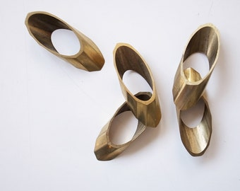 8 pieces of vintage cut raw brass tube outline charm in flat oval geometric shape swirl 35x15mm