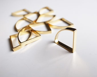 10 pieces of cut raw brass tube outline charm in fan shape quarter circle plated in 24k gold color 22x15x2.5 mm