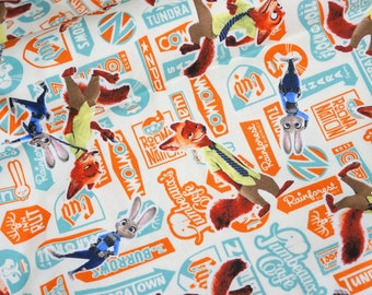 Disney licensed fabric   Zootopia  Print 50 cm by 106  cm or 19.6 by 42 inches nc22