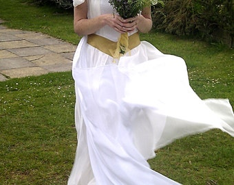 Cali - Custom made ethereal silk chiffon Bridal gown in ivory and white