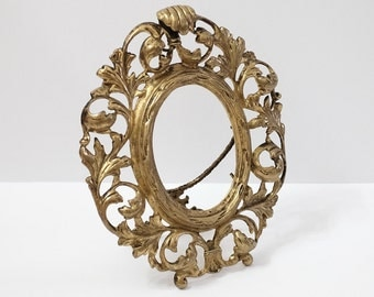 Antique Gold Gilded Metal Ornate Oval Picture Frame