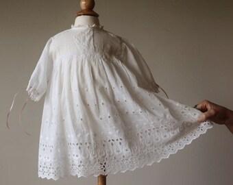 ON SALE 1940s Eyelet Batiste Dress~Size 6 Months