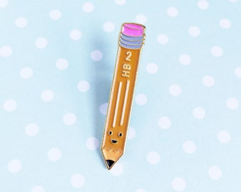 Pencil Enamel Pin - cute cartoon HB 2 stationery school lapel