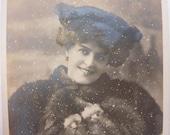 Antique Postcard - Portrait of Miss Marie Studholme - winter scene - actor / actress